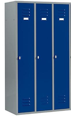 Kleiderspind mit 3 Abteilen Enzianblau/Hellsilber