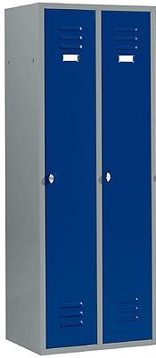 Kleiderspind mit 2 Abteilen Enzianblau/Hellsilber