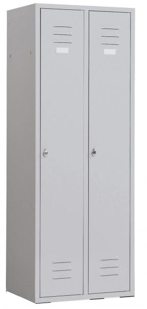 Kleiderspind mit 2 Abteilen Lichtgrau/Enzianblau