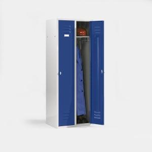 Kleiderspind mit 3 Abteilen Lichtgrau/Enzianblau